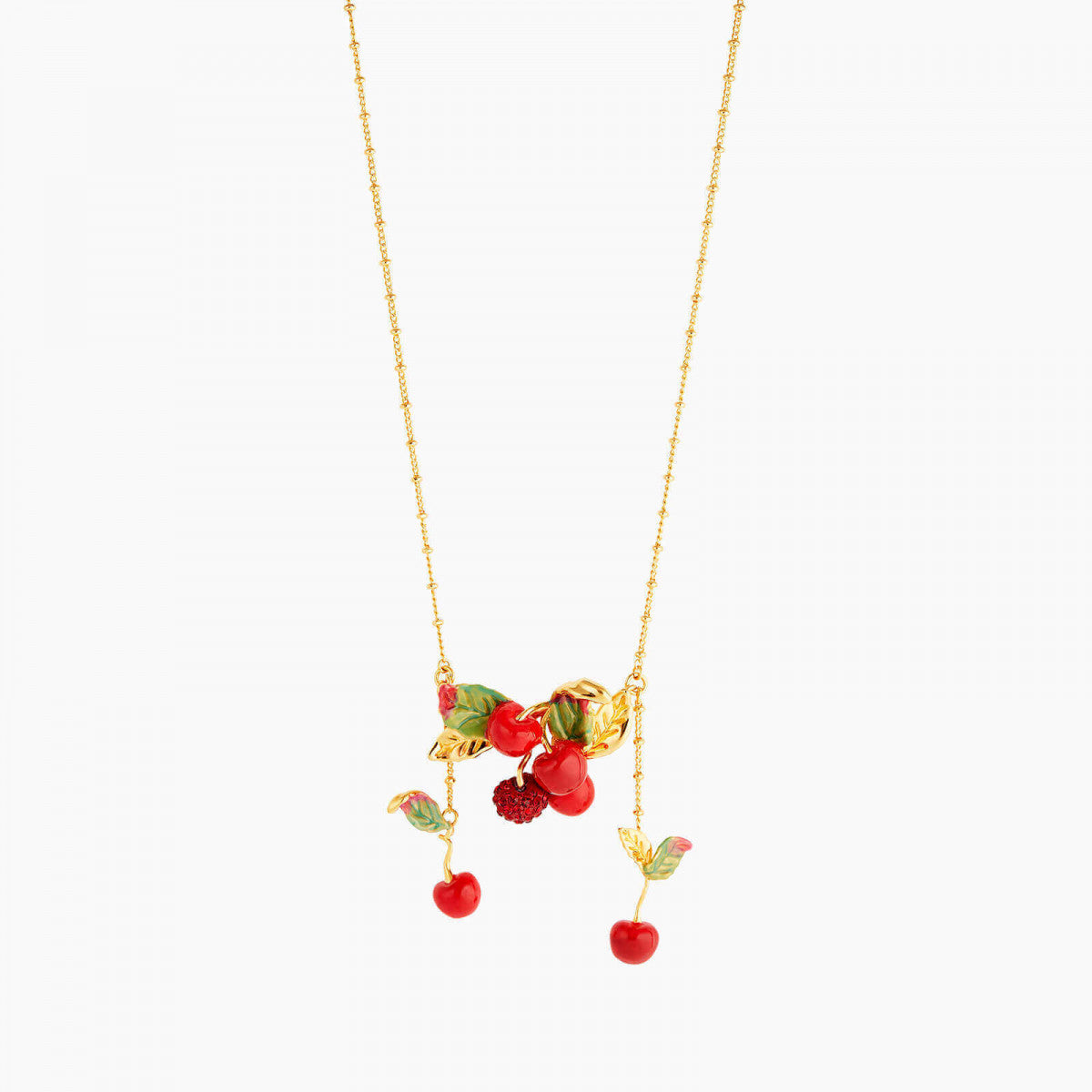 Cherry and Leave Statement Necklace