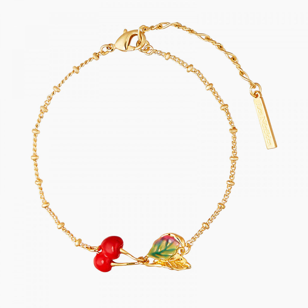 Cherries and leave thin bracelet