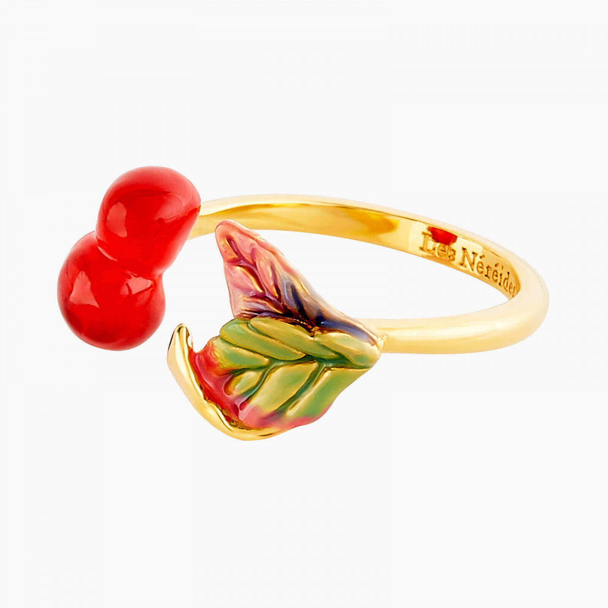 Cherries and leaves adjustable Ring
