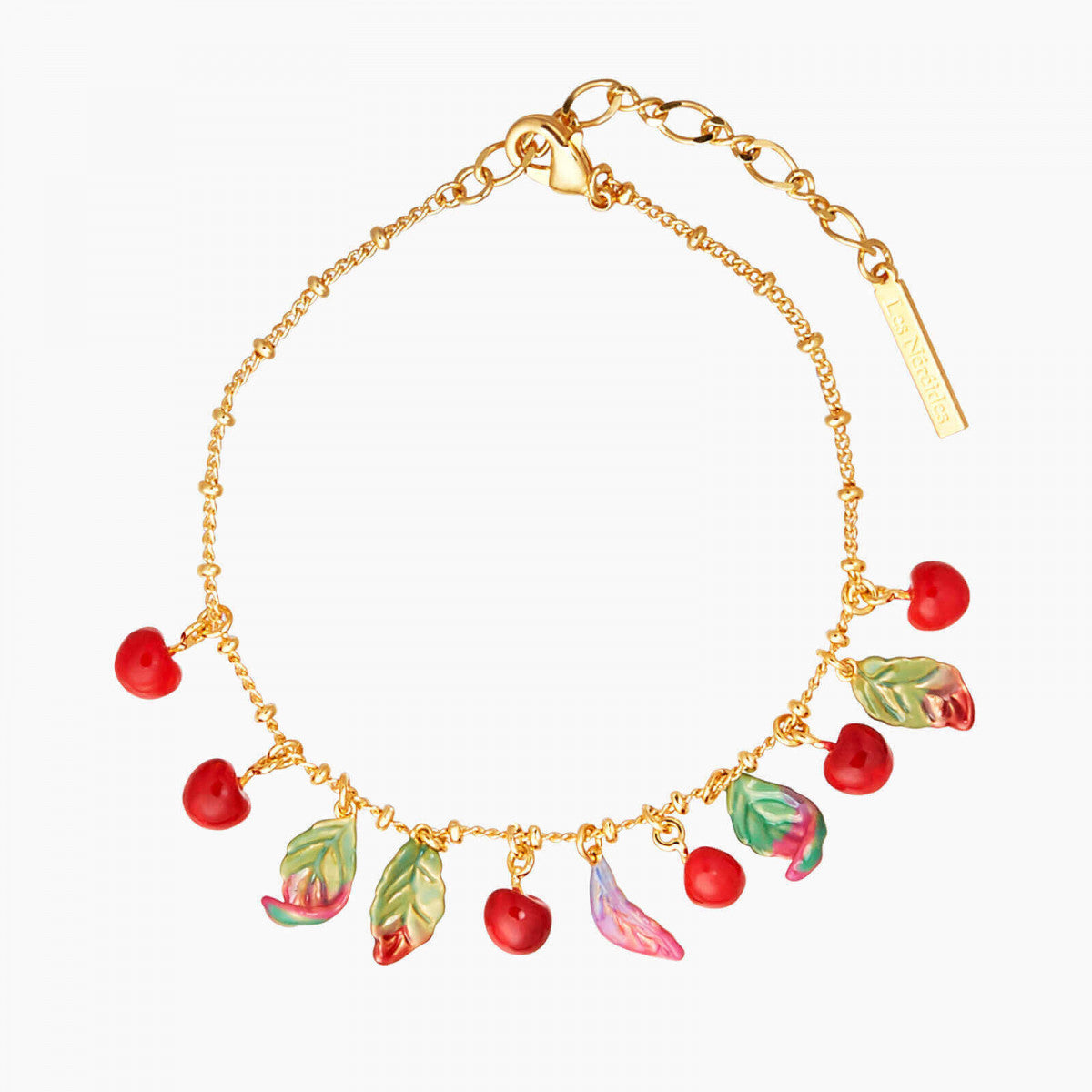 Cherries and leaves Charm bracelet