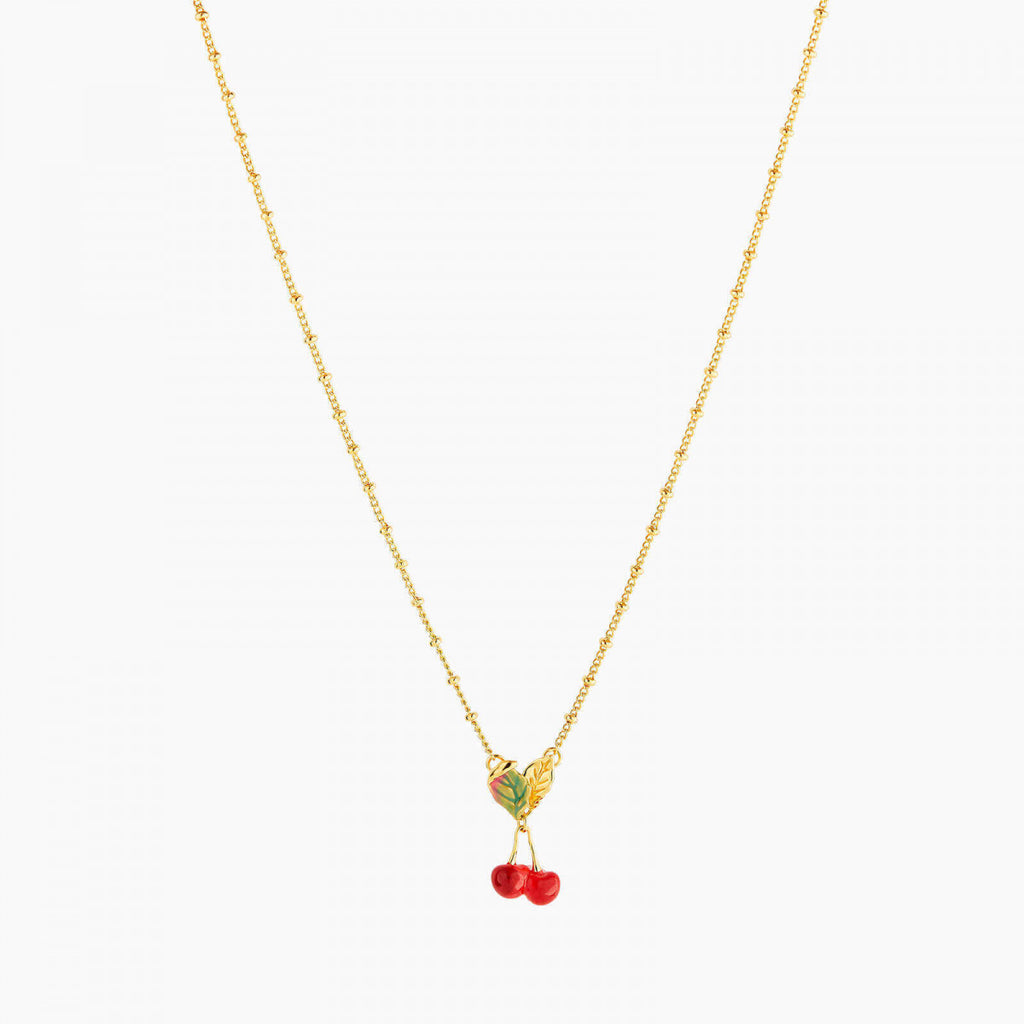 Cherries and leaves Pendant Necklace
