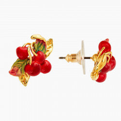 Cherries and leaves post earrings