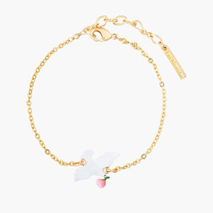 Dove and peony thin bracelet