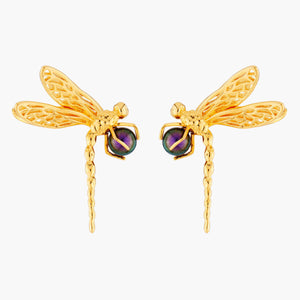 Dragonfly and Iridescent Pearl Stud Earrings