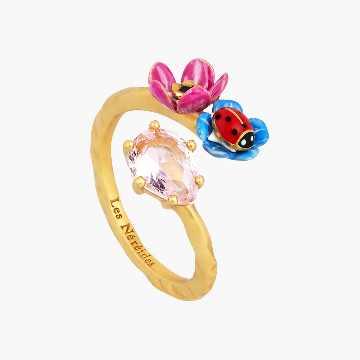 Faceted glass, flower and ladybird you and me ring