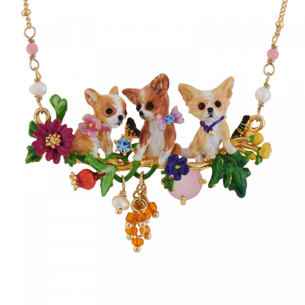 Family of Chihuahuas on a Flowered Branch Necklace