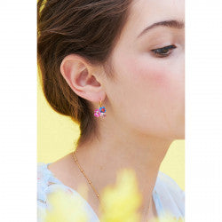 Flower and ladybird faceted crystal petal sleeper earrings