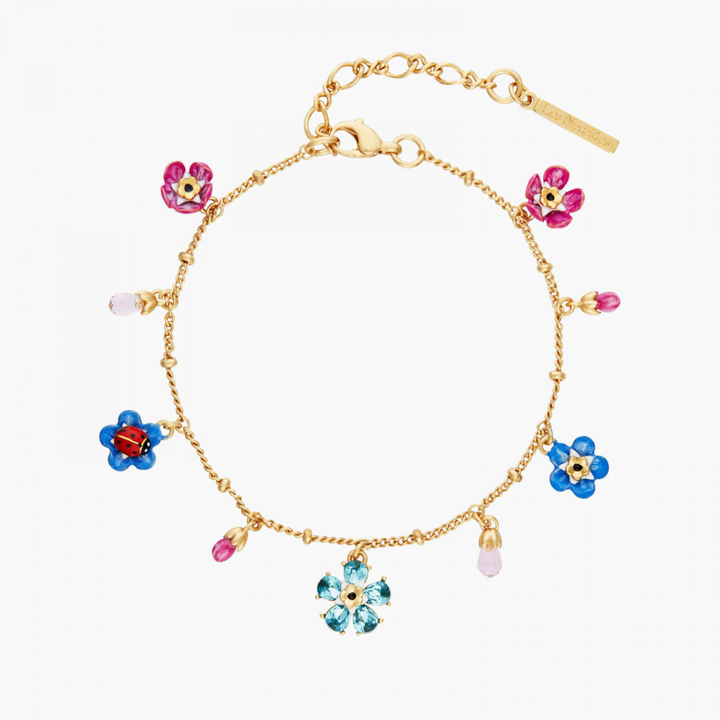 Forget-me-not and ladybird faceted crystal flower charm bracelet