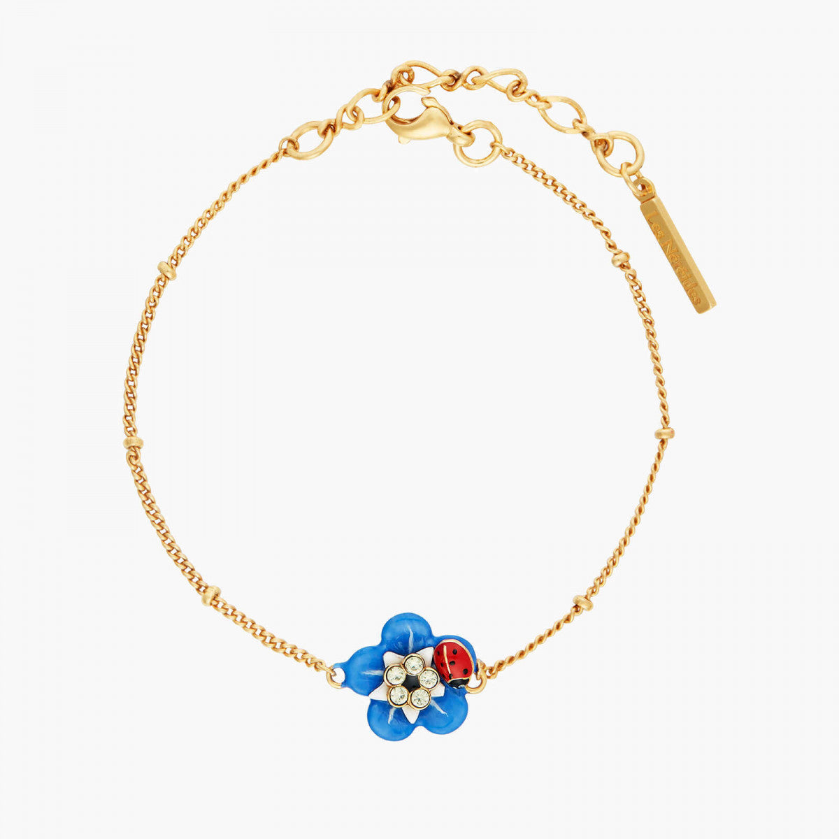 Forget-me-not and little ladybird thin bracelet