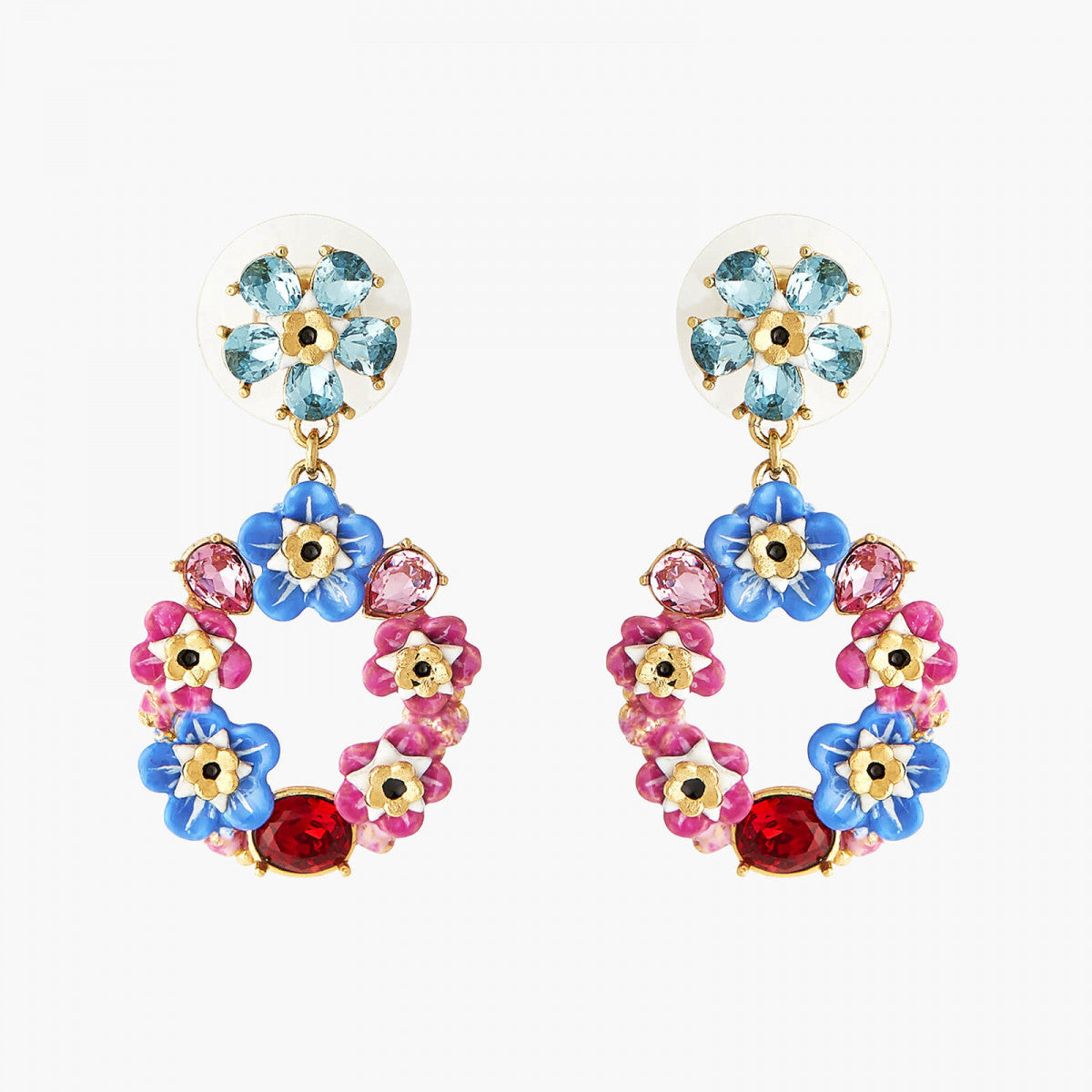 Forget-me-not and rosebuds circular post earrings