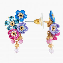 Forget-me-not cluster and rosebuds post earrings