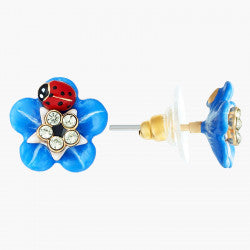 Forget-me-not flower and ladybird stud or dormeuse earrings