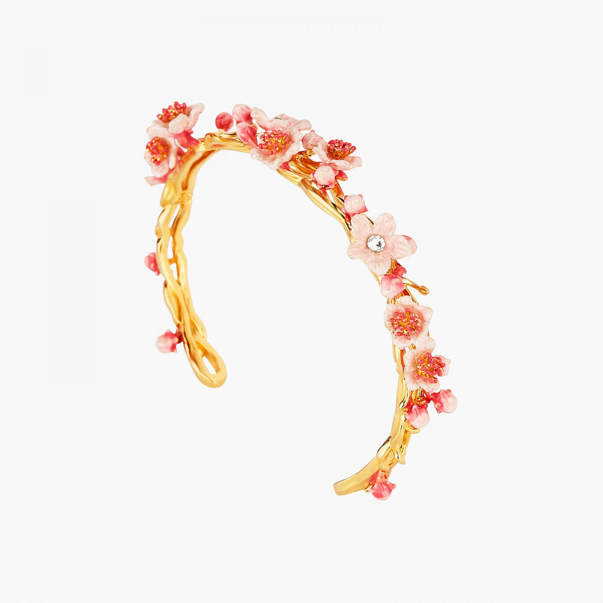 Japanese Cherry Blossom and golden branch bangle bracelet