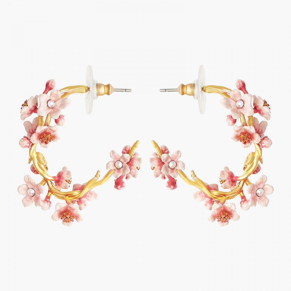 Japanese Cherry Blossom and golden branch hoop earrings
