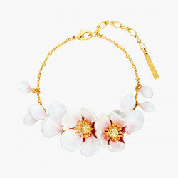 Japanese white cherry blossom and petals thin bracelet