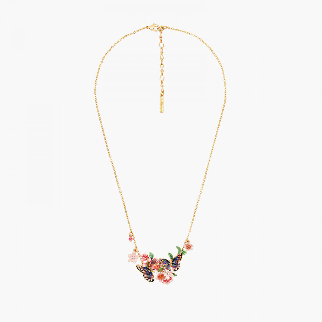 Japanese Emperor Butterfly and cherry blossom double collar necklace