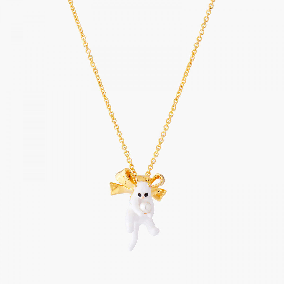 Kitty and Bow Pendant Necklace
