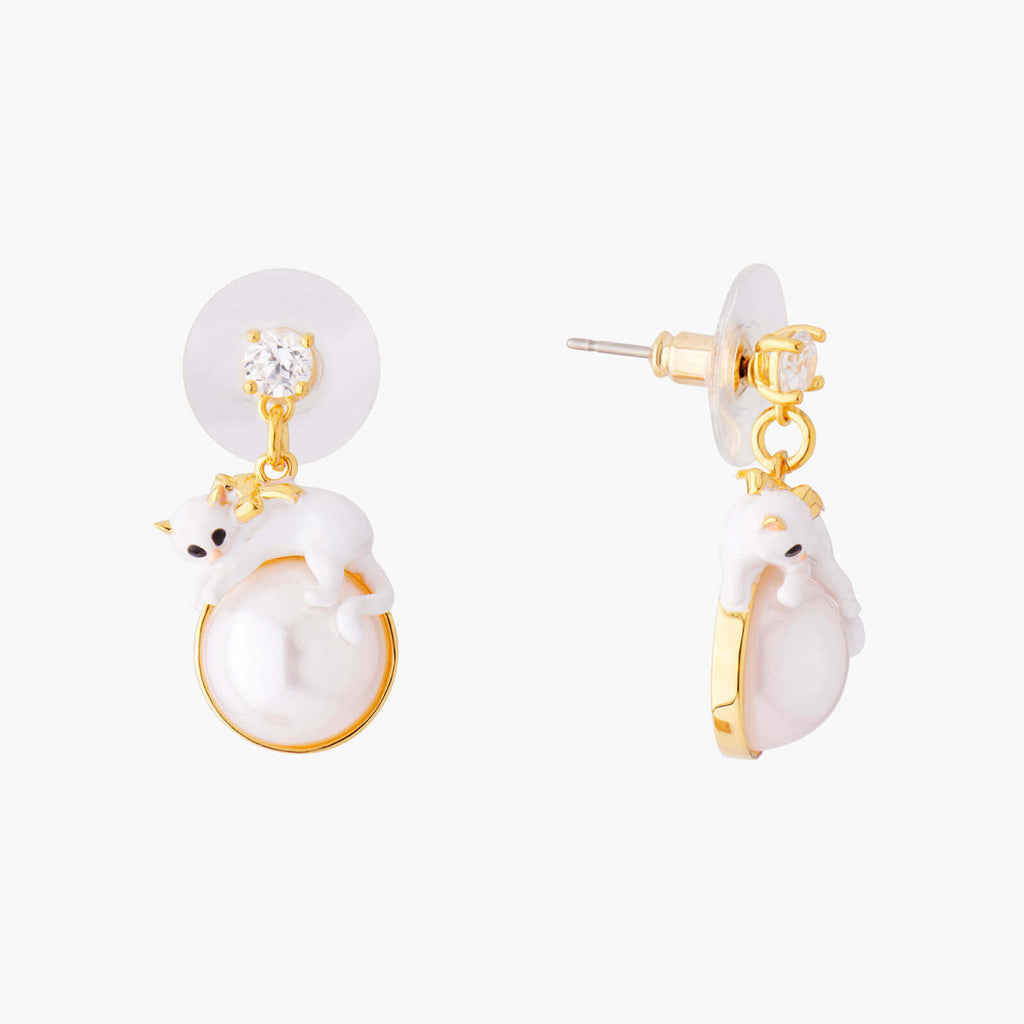 Kitty and Pearl Stud Earrings