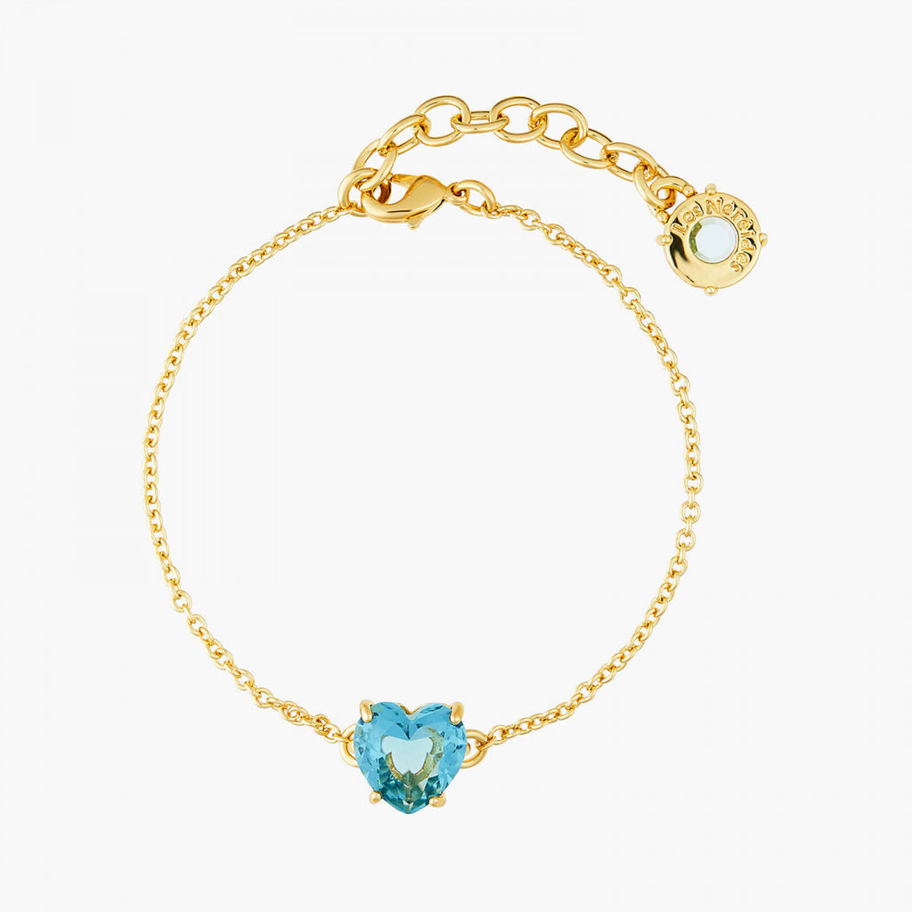 La Diamantine acqua azzura heart stone thin bracelet