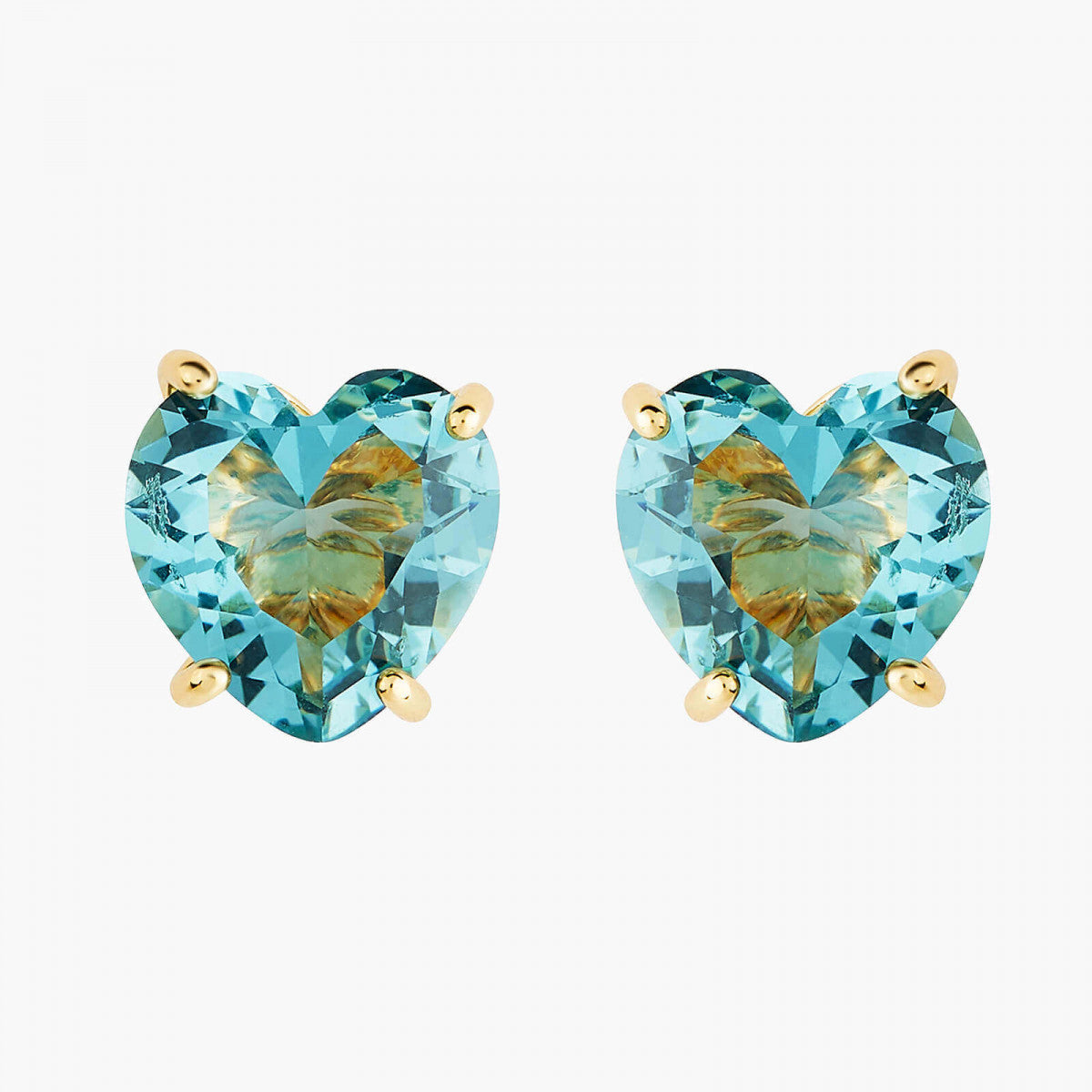 La Diamantine acqua azzura heart stud earrings