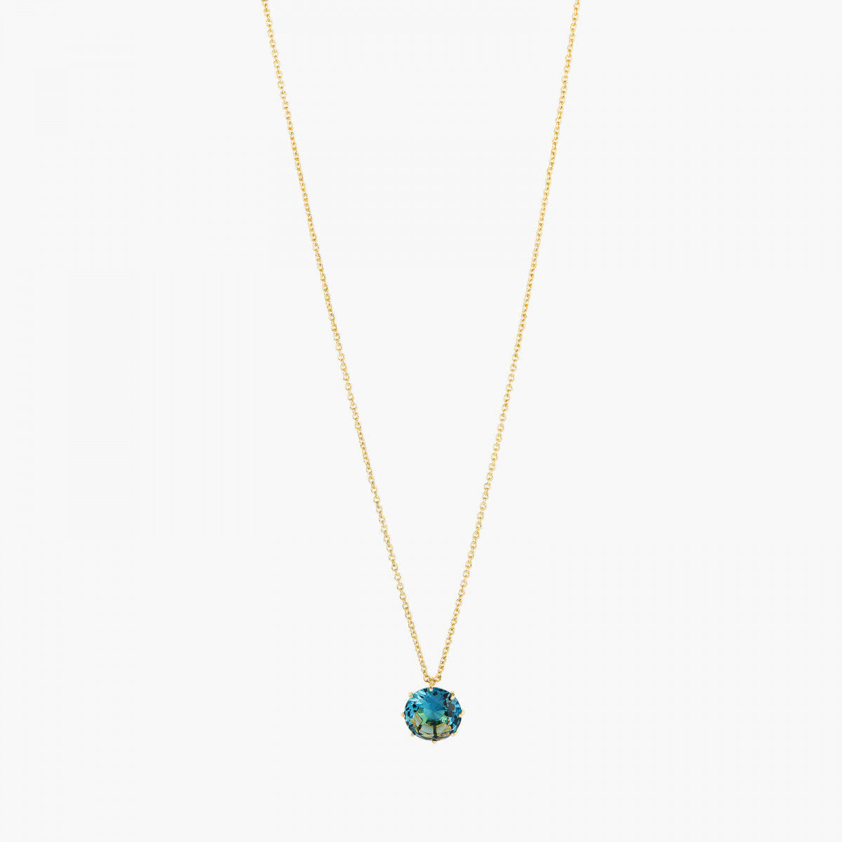 La Diamantine acqua azzura round stone long necklace
