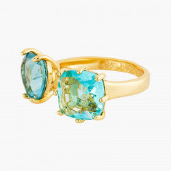 La Diamantine acqua azzura you and me heart and square stone ring