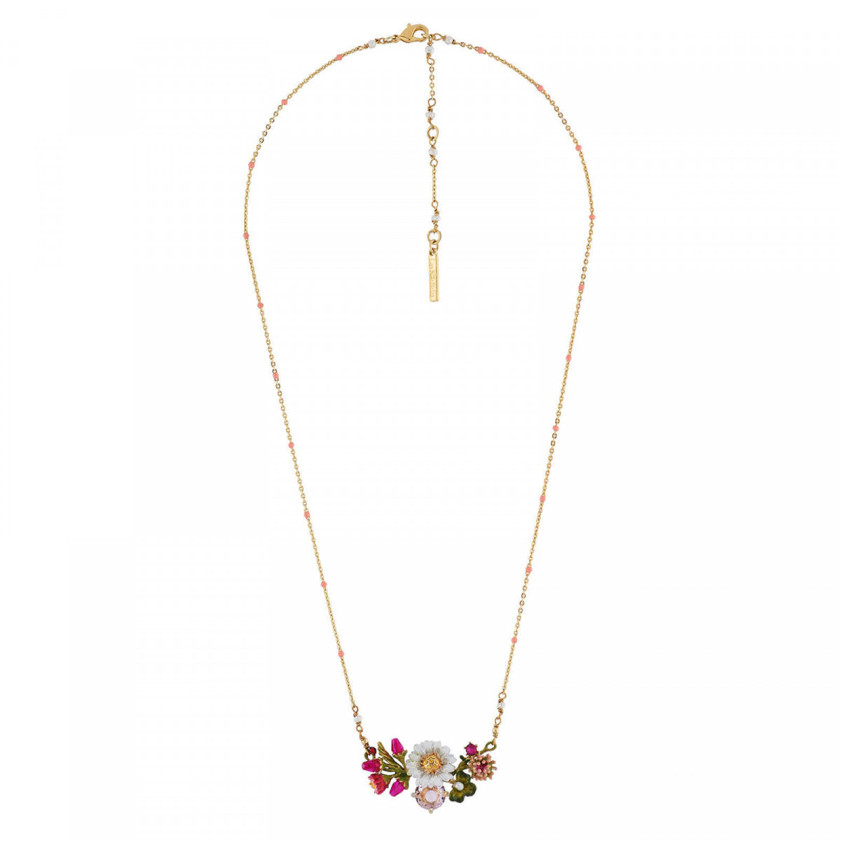 Necklace Daisy on a Flowering Branch and Faceted Crystal