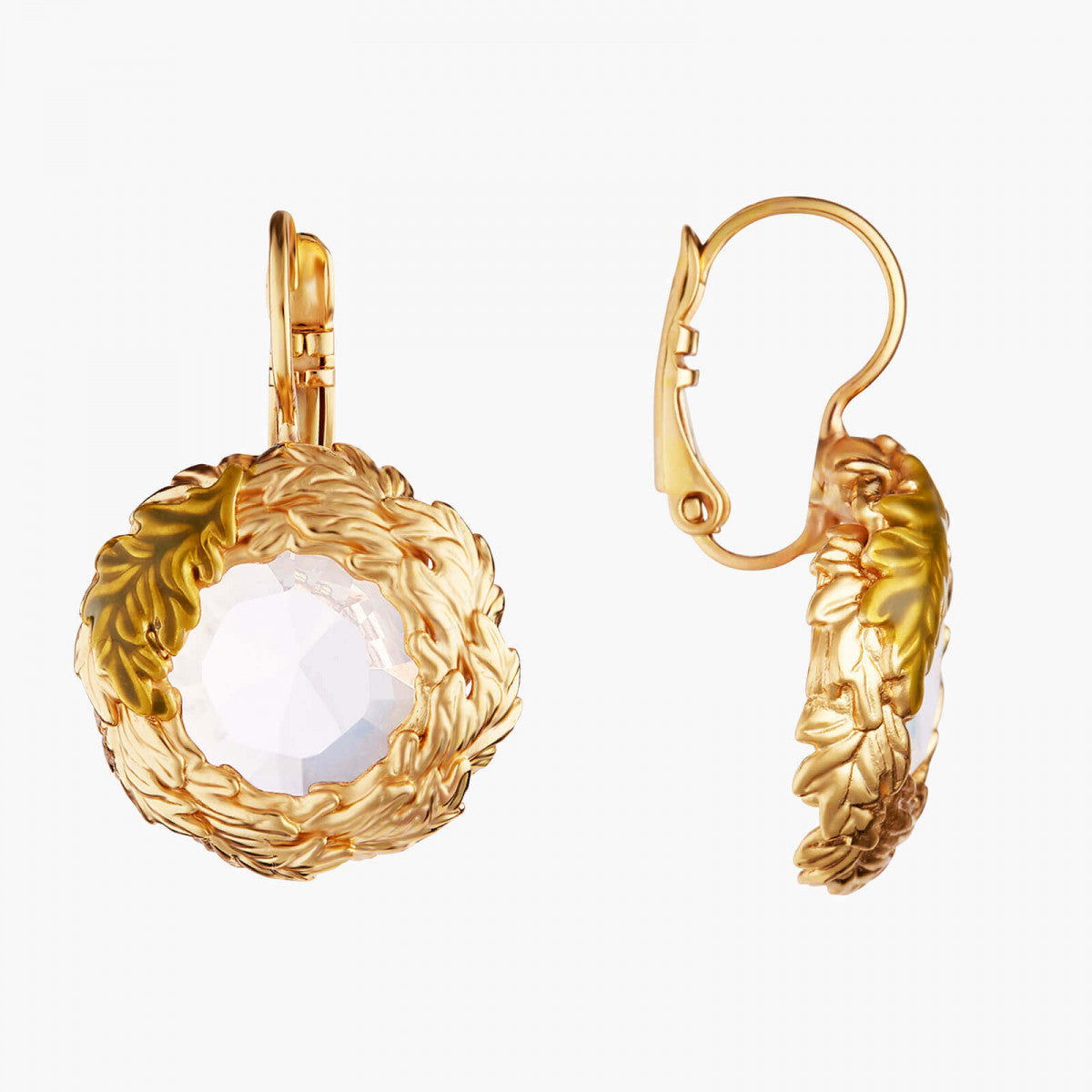 Oak Leaves Crown Dormeuses Earrings