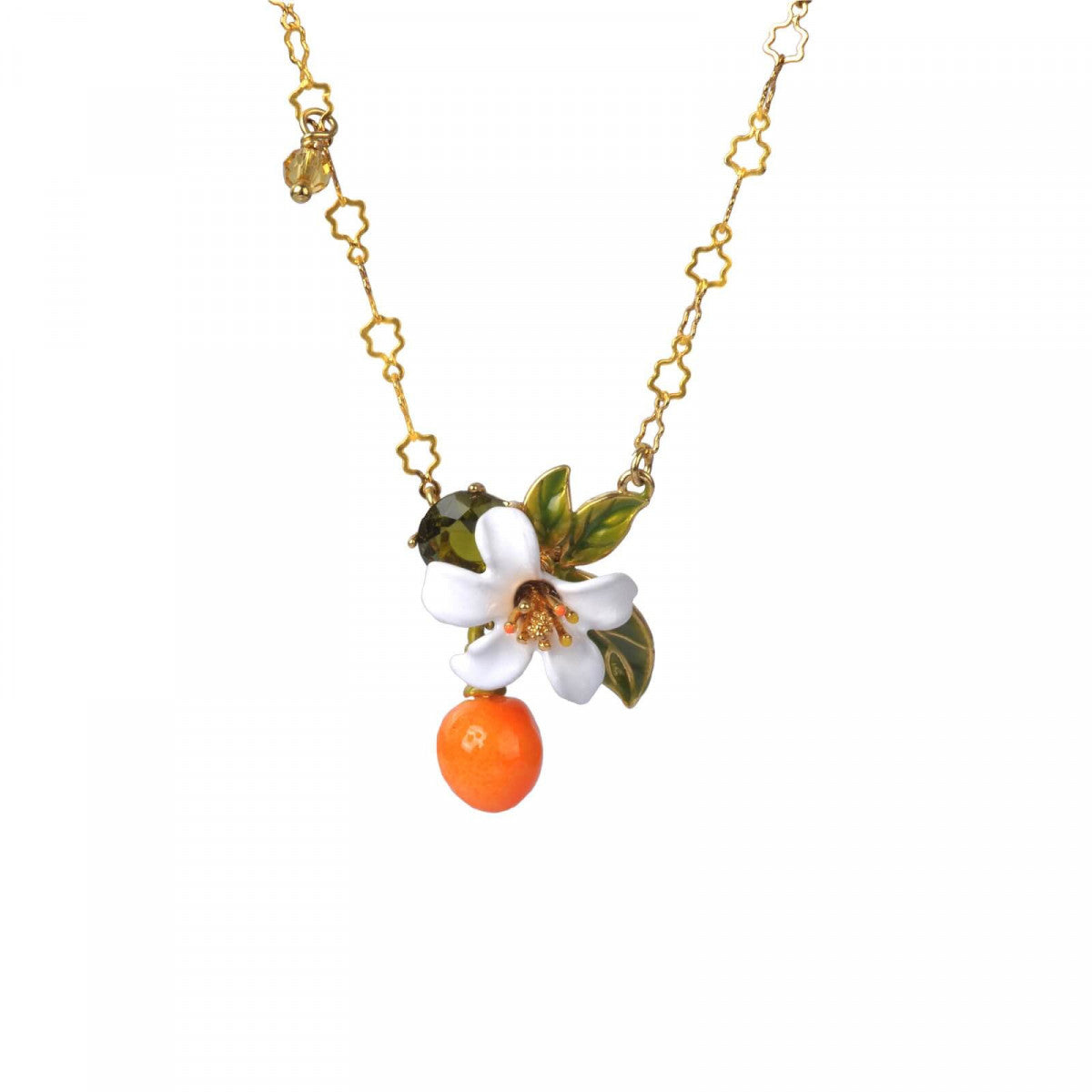 Orange, Orange Blossom and Little Pearls Pendant Necklace