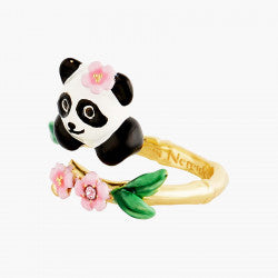 Panda and Flowers Adjustable Ring