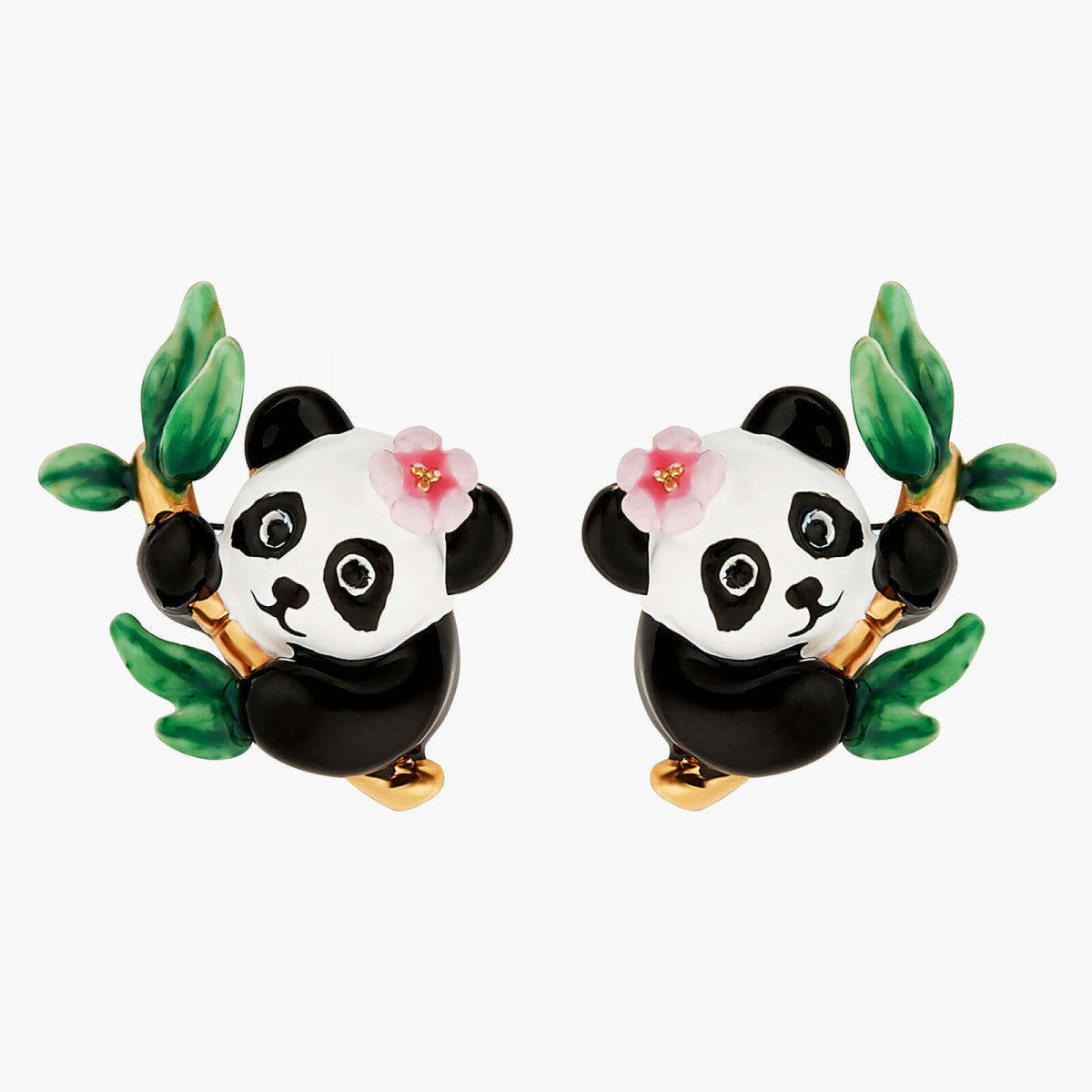Panda and Flowers Post earrings