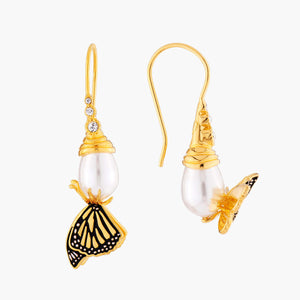 Butterfly and Pearl Asymmetrical Dormeuses Earrings