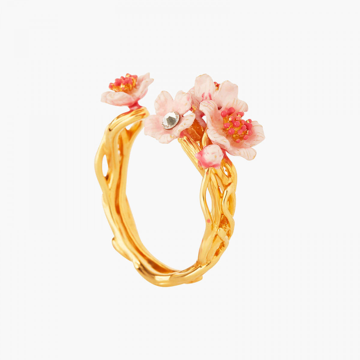 Pink Japanese Cherry Blossom and golden branch adjustable Ring