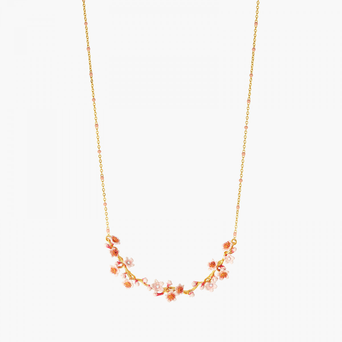 Pink Japanese Cherry Blossom and golden Branch Statement Necklace