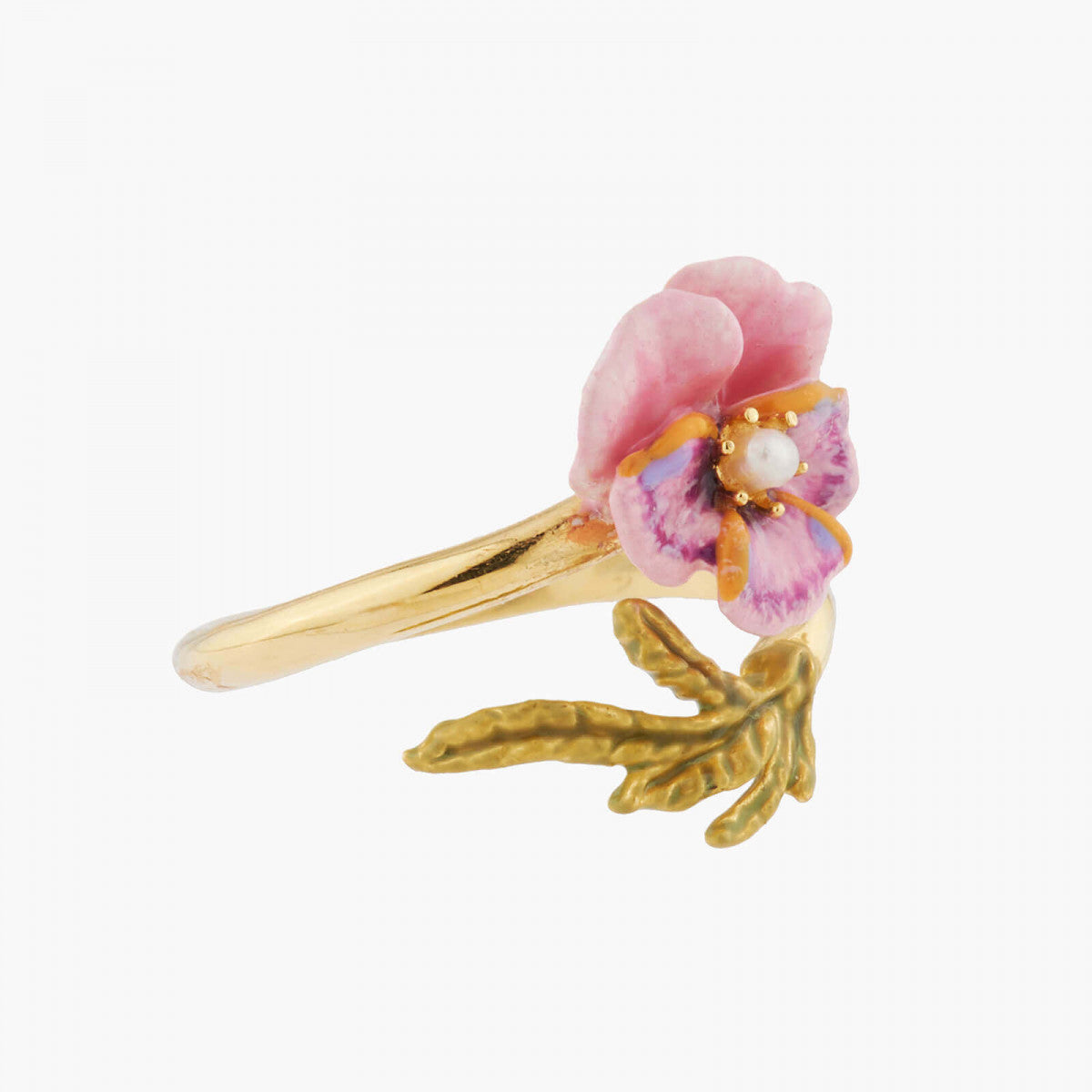 Pink Pansy and Freshwater Pearl Adjustable Ring