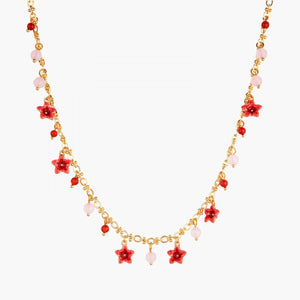 Raspberry and Miraculous Flowers Thin Necklace
