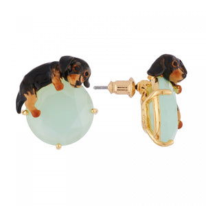Small Dachshund Lying on Faceted Glass Earrings