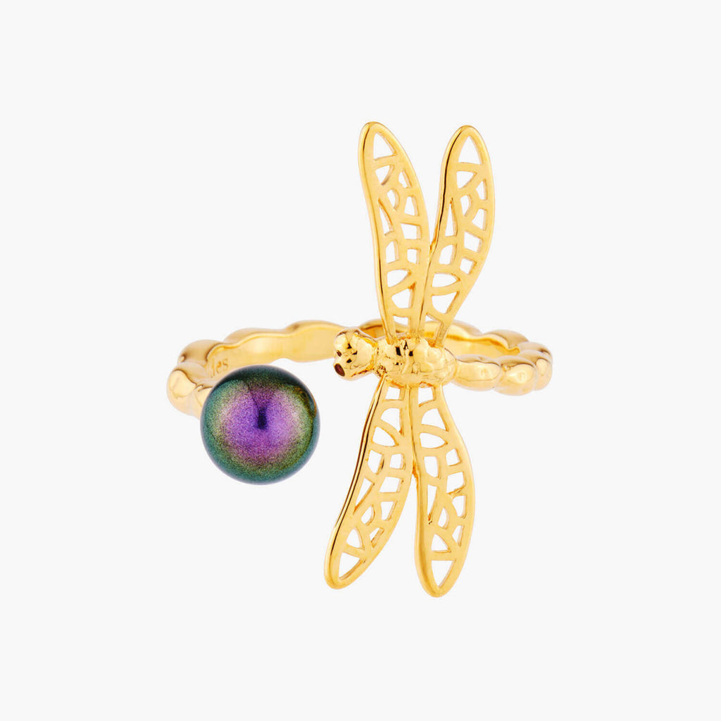 Small Dragonfly and Iridescent Pearl Adjustable Ring