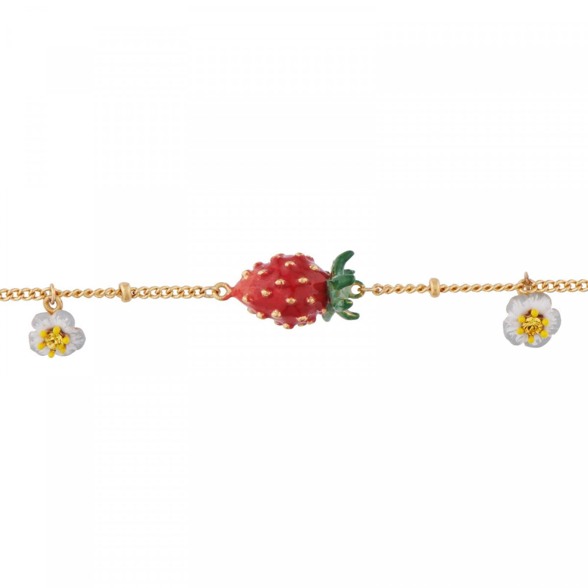 Small Strawberries and White Flowers Bracelet