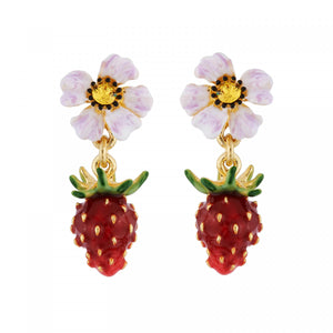 Small Strawberry and White Flower Earrings
