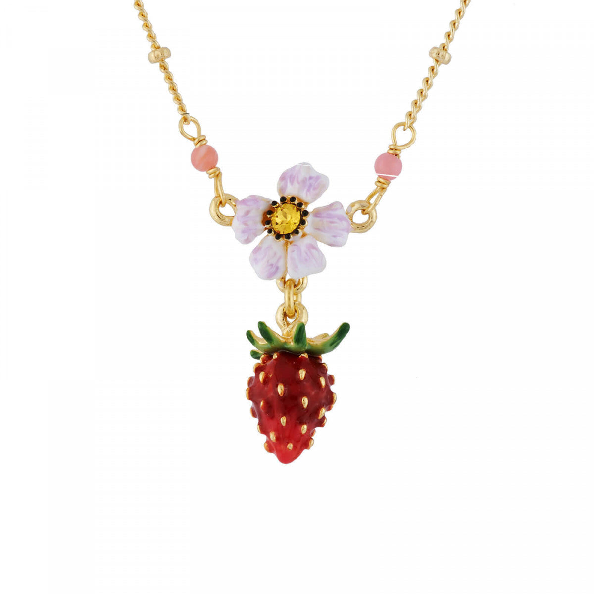 Small Strawberry and White Flower Necklace