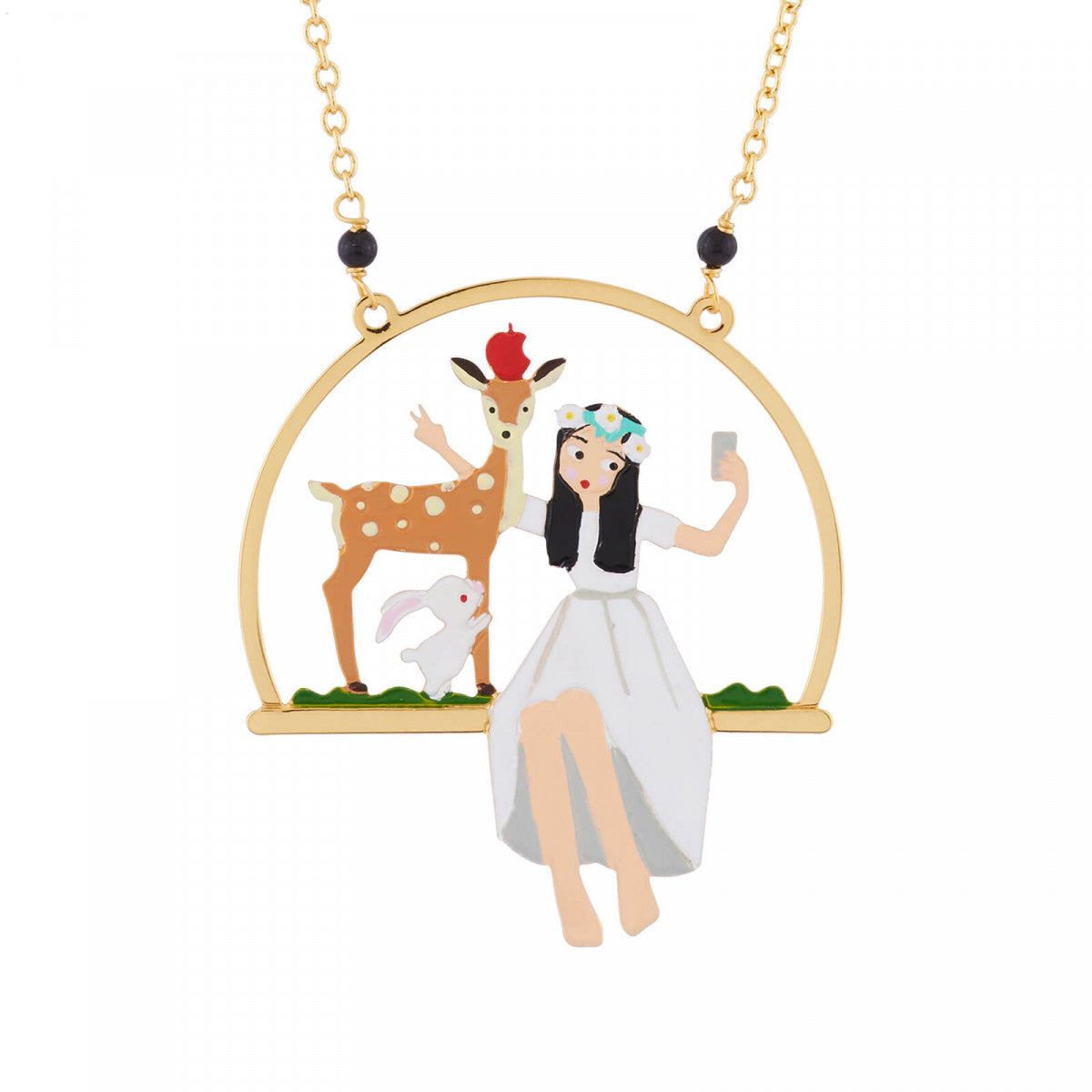 Snow White and her Deer Friend Taking a Selfie Necklace