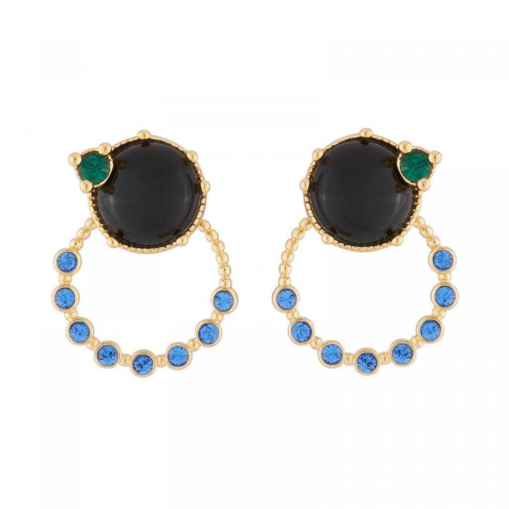Stud Earrings with Ring and Blue Stone