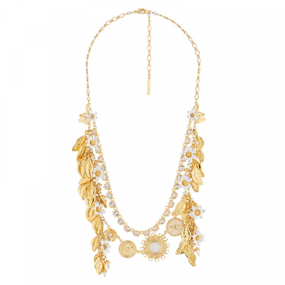 Sun, Laurel Leaves and Jasmin Two Rows Necklace