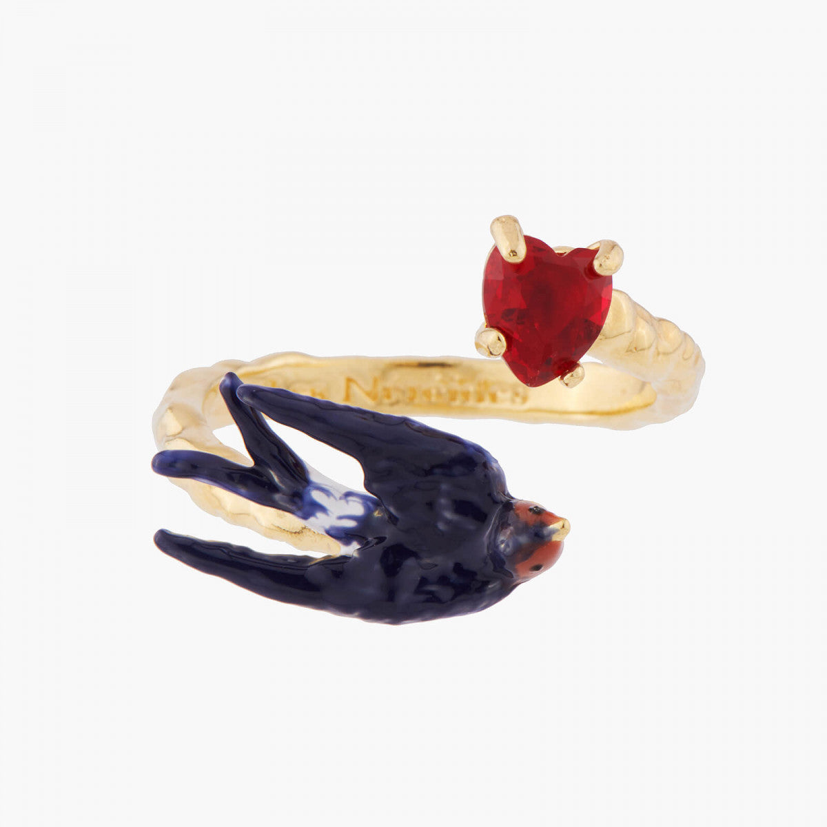 Swallow and Heart Adjustable Ring