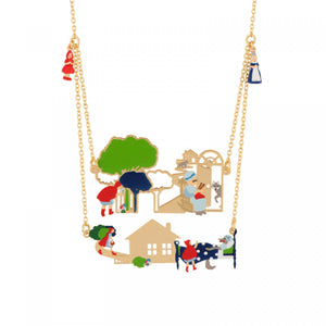 Two Rows Necklace Featuring the Key Scenes of the Little Red Riding Hood's Tale