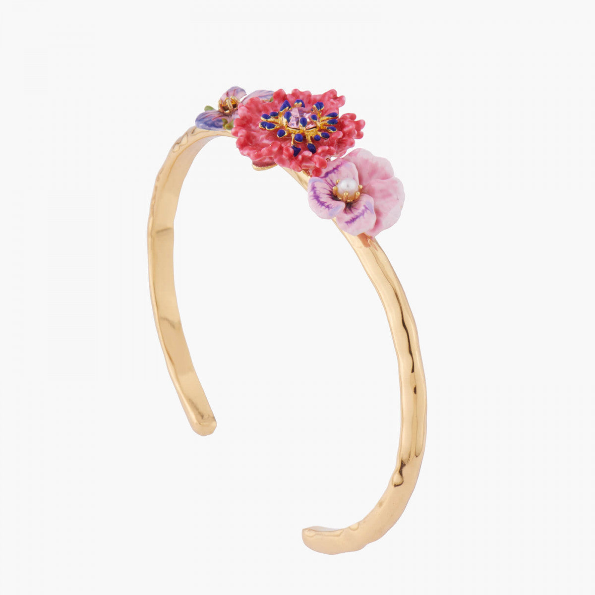 Violet, Carnation and Pansy Bangle Bracelet