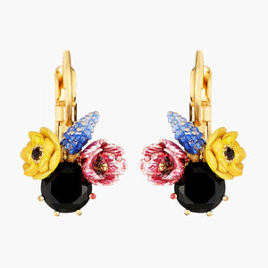 Winter Blooming Bouquet on a Black Stone Dormeuses Earrings