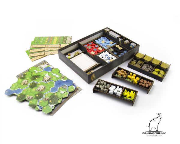 Gaming Trunk - Caledonia Organizer for Clans of Caledonia board game (Black) (For First Edition of the game)