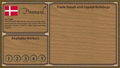 Glenn Drover's Empires: Age of Discovery – Denmark Player Board and White Figures